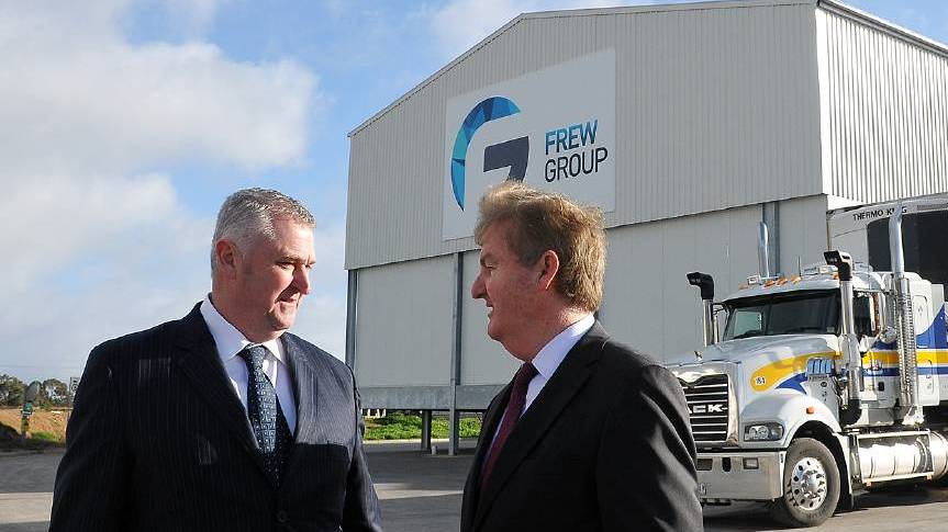 CRITICAL OF THE APPROACH: Frew Foods International's Robert Frew with then-Victorian Deputy Premier, Peter Ryan in 2014.