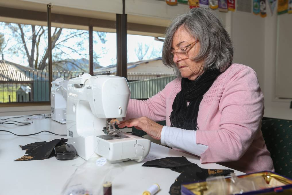 Sue Blake sewing masks. Picture: TARA TREWHELLA