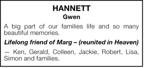 HANNETT  Gwen  A big part of our families life and so many bea
