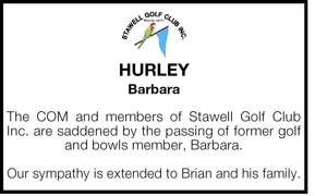 HURLEY  Barbara  The COM and members of Stawell Golf Club Inc.
