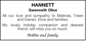 Hannett  Gwenneth Olive  All our love and sympathy to Melinda,