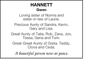 Hannett  Gwen  Loving sister of Norma and   sister-in-law of L